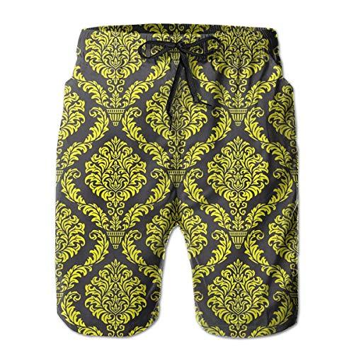 Herren Badehose Golden Portrait Schnelltrocknende Kordelzug Surfing Beach Shorts mit Taschen, Größe L.