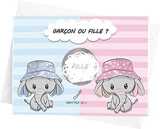 Crintiff - Carte à gratter annonce sexe de bébé pour fille ou garçon, avec un design de bébé éléphant - pastille argent