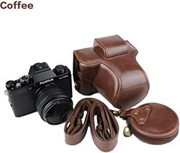 New Leather Camera Case Bag with Shoulder Strap  Fuji X-T100 Base Remo...