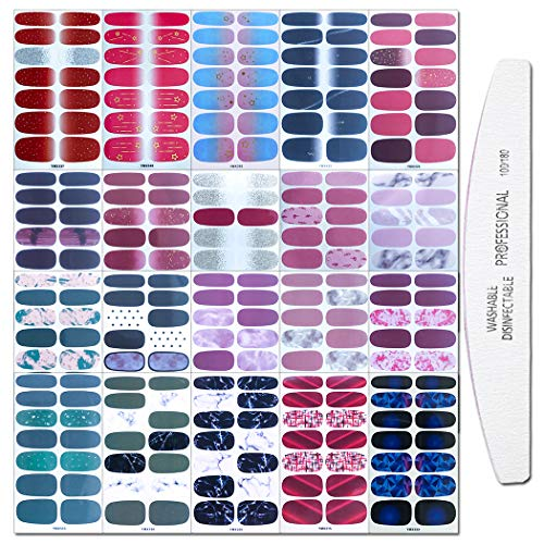 WOKOTO 20 Sheets Full Wraps Nail Art Polish Stickers Strips Set with 1Pc Nail File Gradient Adhesive Nail Decals Design Manicure Tips