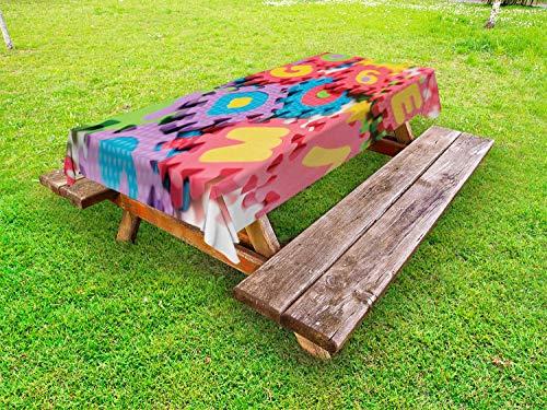 ABAKUHAUS ABC Puzzle Tafelkleed voor Buitengebruik, Dicht schot van Foam Gereedschap, Decoratief Wasbaar Tafelkleed voor Picknicktafel, 58 x 120 cm, Veelkleurig
