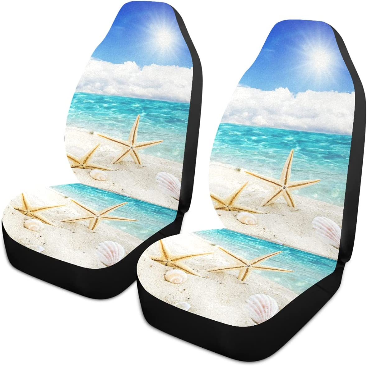 Oarencol Summer Starfish Seashell In a popularity Car Max 59% OFF Seat Bl Sandy Beach Covers