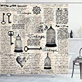 Ambesonne Old Newspaper Shower Curtain, Grunge Retro Pattern Bird Cages Keys Heart Shapes and Flower, Cloth Fabric Bathroom Decor Set with Hooks, 75' Long, Black Cream Baby Blue