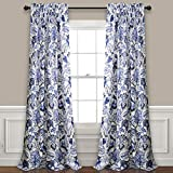 Lush Decor Cynthia Jacobean Room Darkening Window Panel Curtain Set (Pair), 84' L, Blue