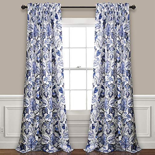"Lush Decor Cynthia Jacobean Room Darkening Window Panel Curtain Set (Pair), 84"" L, Blue, 2 Count"