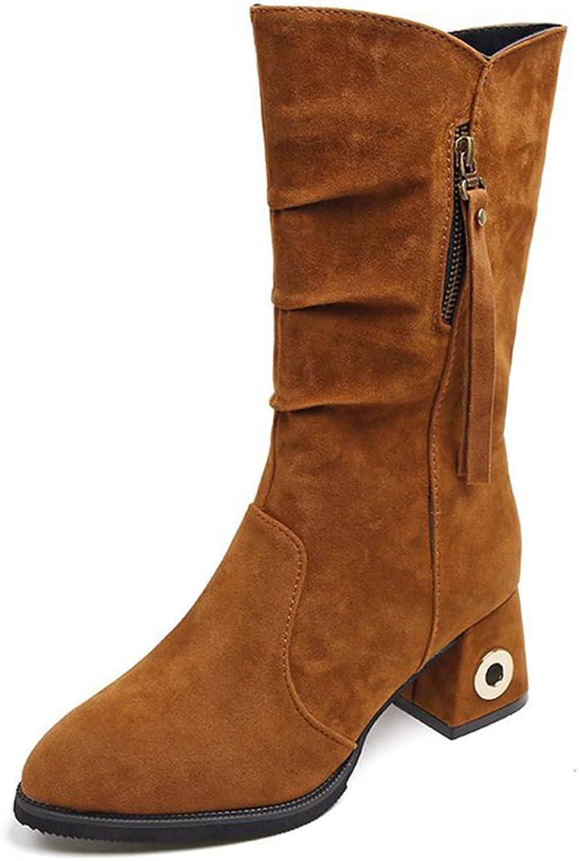Btrada Women's Fashion Zip Side Mid-Calf Boots-Thick Low Heel Rivet Fur Linling Short Booties