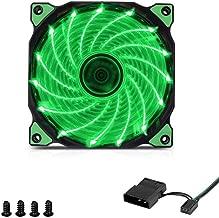 Funrose 15LED Computer Fans 120mm PC Desktop Computer Case DIY 12V 3-4Pin LED Light Neon Quite Clear Cooling Fan Mod (Green)