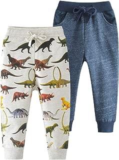 HUAER& Baby Boy Car Print Pants Drawstring Elastic Sweatpants