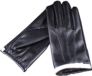 SGJFZD Winter Gloves Outdoor Premium PU Leather Touch Screen Texting Driving Gloves for Women Gloves (Color : Black, Size : L)