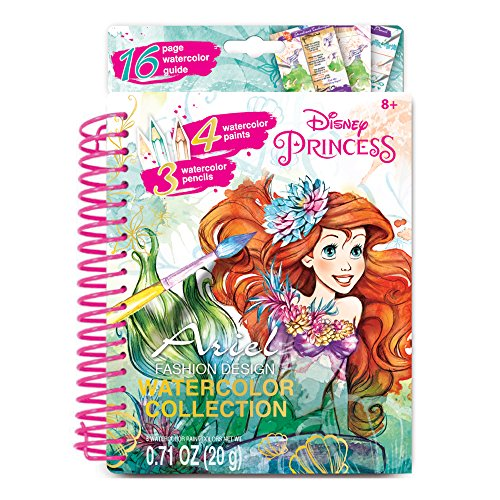 Make It Real - Disney Ariel Watercolor Small. Disney Inspired Coloring Book for Girls. Includes Ariel Watercolor Sketchbook, Paintbrushes, Watercolor Paints, Stencils, Stickers, and Design Guide