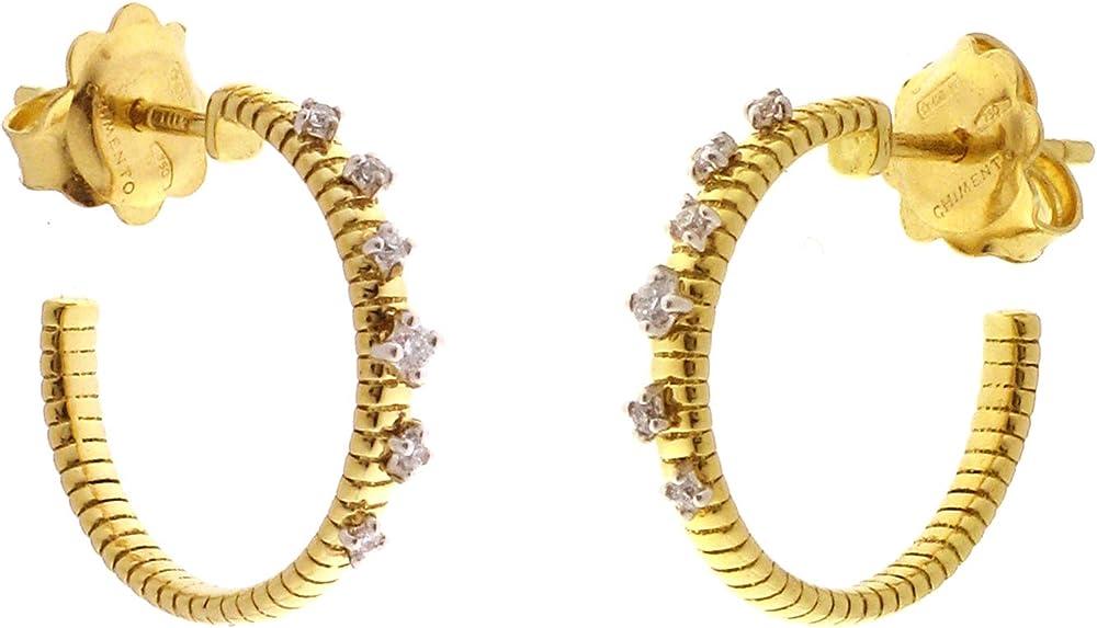 Chimento,orecchini da donna a cerchietto in oro 18kt(3 gr)e un bouquet di diamanti ct. 0.08 1o02076b12000