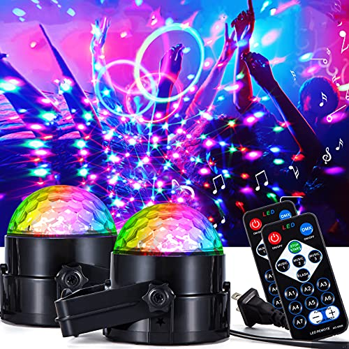 Disco Ball Disco Lights, [2-Pack] Party Lights 7 Colors Dj Lights Strobe Light Sound Activated Stage Lights Effect with Remote Control Disco Ball Lamps for Home Room Parties Kids Birthday Xmas Pub