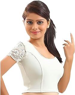 Damen Designer Crope Top Frauen Choli Indian Lycra-Stretchable Bluse Wedding Party Wear Best Match Für Saree von Thnic Emporium 28 bis 42 Weiß