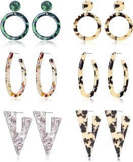 Tornito 6-10 Pairs Mottled Hoop Earrings Acrylic Resin Drop Dangle Earring Bohemian Statement Stud Earrings for Women