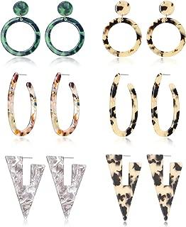 6-10 Pairs Mottled Hoop Earrings Acrylic Resin Drop Dangle Earring Bohemian Statement Stud Earrings for Women Girl