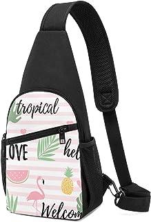 PGTry Tropical Background con Flamingos Sandía, bolsa de hombro ligera, mochila para el pecho, bolsa cruzada, viajes, send...