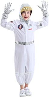 Children's Astronaut Costume Set Space Role Play Dress up Set for Toddlers Kids Ages 3-6 White