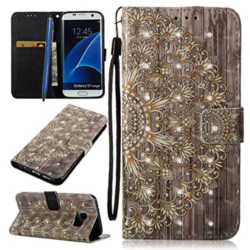 Careynoce Portemonnee 3D Emboss Lederen Hoesje voor Samsung Galaxy S7 Edge Portemonneehouder M08