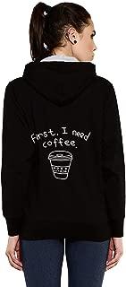 GOODTRY G Women's Cotton Hoodies Back Print -Coffee