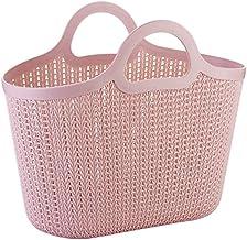 JQZLXXZL Portable Sundries Storage Basket Imitation Rattan Bathroom Shower Basket Wash Basket Hollow Plastic Shopping Basket (Color : Pink)