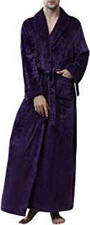 Allthemen Mens Soft Fleece Dressing Gown Bathrobe Winter Warm Long Robes Fluffy Nightwear Loungewear Housecoat