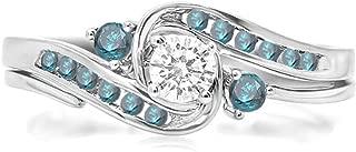 Dazzlingrock Collection 0.50 Carat (ctw) 14k Round Blue And White Diamond Ladies Swirl Bridal Engagement Ring Set, White Gold