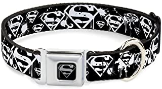 Buckle-Down Seatbelt Buckle Dog Collar - Superman Shield Splatter Black/White