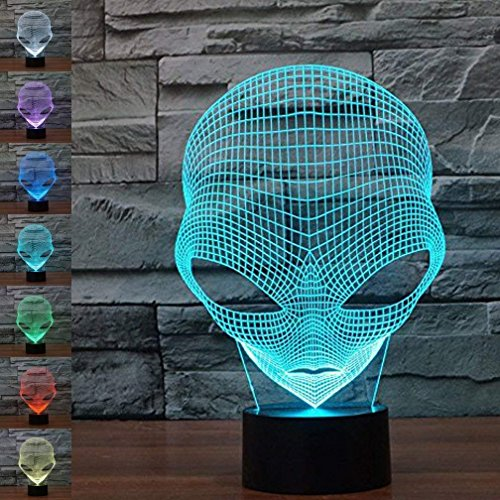 3D Alien Illusion LED Night Light,WONFAST 7 Colors Gradual Changing Optical Illusion Acrylic Lamp USB Touch Bedside Table Lamp for Holiday Gifts or Home Decorations