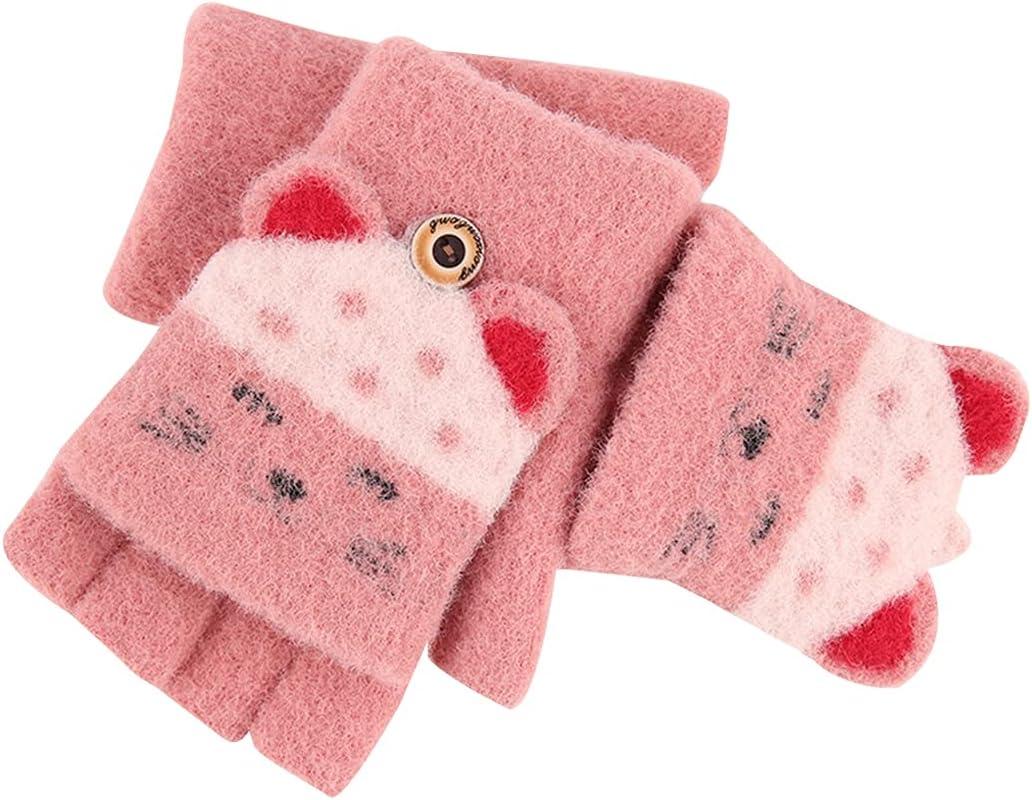 Lnrueg Kids Fingerless Gloves Thick Elastic Breathable Flip Top Gloves Winter Gloves Half Finger Mittens Thickened