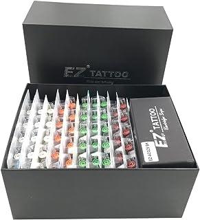 EZTAT2 100 Pcs EZ Revolution Tattoo Cartridge Needles Assorted with 2 Aluminum Grips 2 Needle Bars Complete Kit