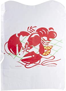 Disposable Poly Plastic Lobster Bibs – White Crawfish Adult Bib with 3 inch Catch Pocket - Perfect for Seafood Feasts (Pack of 50)