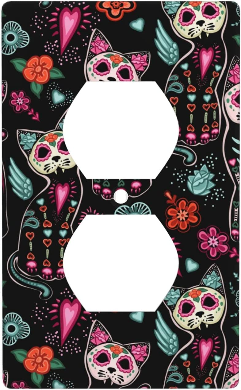 Day of The Dead Outlet Wall Switch Panel Decorator Light Switch Cover, Cat Kitten Sugar Skull Outlet Wall Plate Cover for Bedroom Kitchen Home Decor