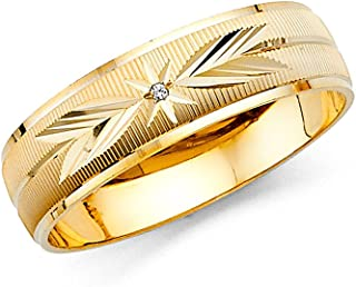 Ioka - 14K Yellow OR White Solid Gold 6mm Men's CZ Star and Arrows Wedding Band