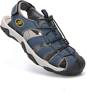 Outdoor Hiking Sandals for Men Closed Toe Trail Athletic Climbing Summer Fisherman Leather Beach Shoes Slippers Sliders