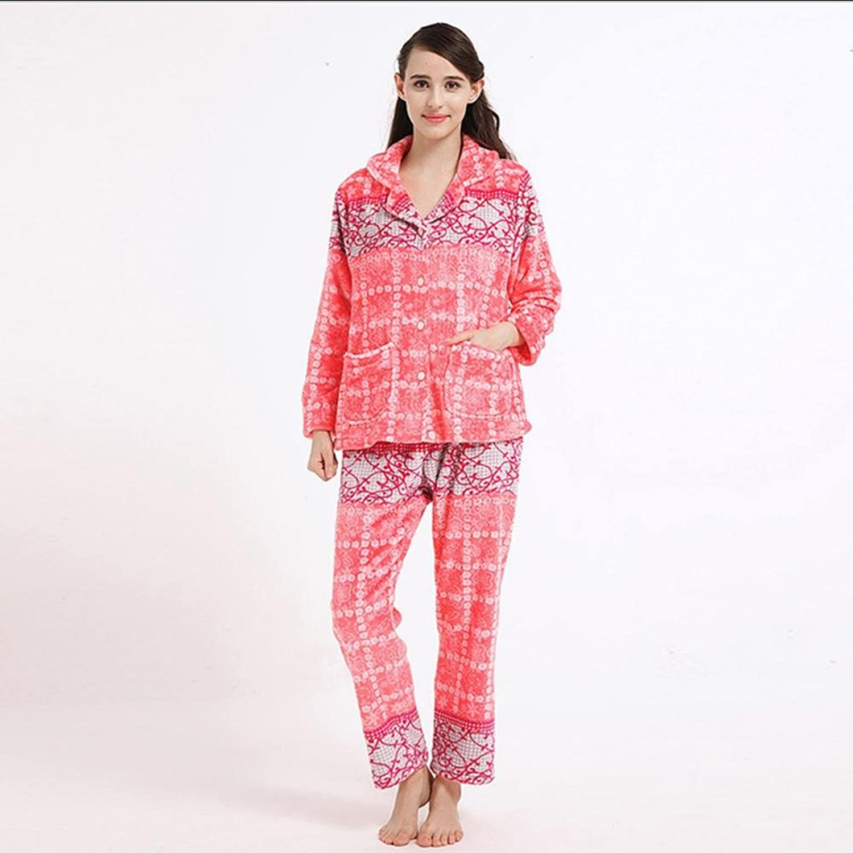DMMSS Coral Fleece Padded Warm Bathrobe Lady'S Long Sleeve Pajama Set