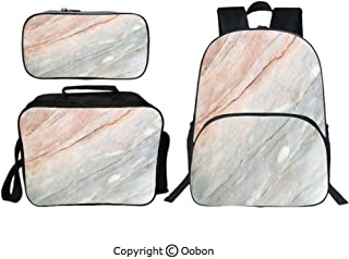 Oobon Kids Toddler School Waterproof 3D Cartoon 16″ Backpack, Onyx Stone Textured Natural Featured Authentic Scratches Artful Illustration Decorative, with Lunch bag Pencil bag Three-piece