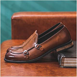 HongJie Hou Retro Oxfords for Men Party  Shoes Slip on Microfiber Leather Pointed Toe Block Heel Dual Monk Straps Burnished Style Solid Color (Color : Brown, Size : 8.5 UK)
