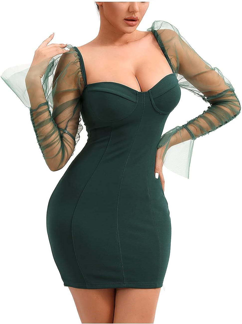 L'VOW Womens Sexy Long Puff Sleeves Dress Mesh Sheer Backless Skirt See-Through Mini Dress