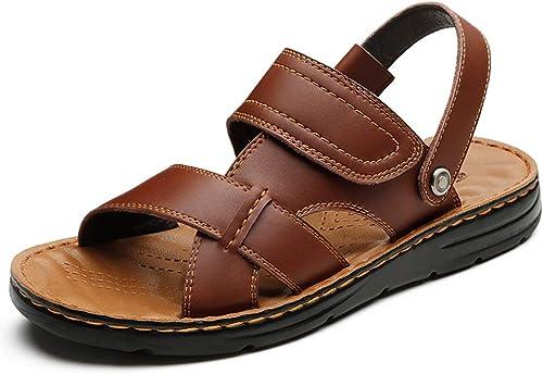 LQ Sandales pour Hommes Chaussures de Plage en Option MultiCouleures en polyuréthane, Sandales Tout Cuir pour Hommes, Sandales à Double Couche (Couleur   Charcoal noir, Taille   39)