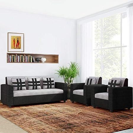 CasaStyle Casaliven Fabric 5 Seater 3+1+1 Sofa Set (Grey-Black)