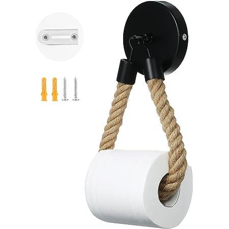 Infankey Porte Papier Toilette sans Perçage, Vintage Porte Rouleau Papier Toilette, Noir Mat Support Papier Toilette pour Salle de Bain et WC