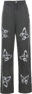 langchao Jeans niña niña Moda Casual Retro Cintura Alta Patchwork Pantalones Sueltos