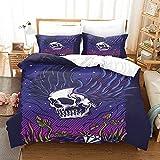 Juego de Cama 3D Juego de Cama niñas niño Esqueleto de Halloween Double(200X200 Cm), 3 Piece Set 1 Piece Quilt Cover + 2 Piece Matching Pillowcase