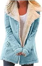 AOJIAN Women Jacket Long Sleeve Outwear Warm Plush Hooded Solid Pockets Coat