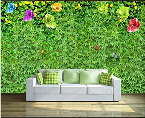 Fototapete 3D Effekt Wand Dekoration Vlies 300X210Cm Grüne Blattblumenrebenwand Tapete Moderne Wanddeko Wandbilder