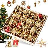 Bluelves Adornos de árbol de Navidad, 56pcs Adornos de Navidad Paja, Decoraciones Ornamentales para Colgar en el árbol de Navidad