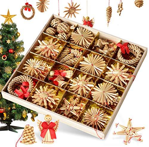 Bluelves Ornamenti Natalizi in Cannuccia, Natale Decoratici Pendente Ornamenti per Albero di Natale Decorazione per Festa di Natale, Set di 56