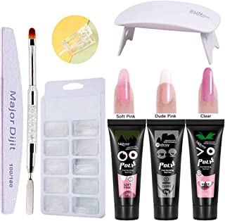 Anself - Kit de extensión de uñas de gel de 3 colores, 15 ml, herramientas de secado rápido, lámpara UV de uñas, 100 unidades