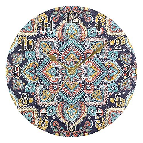 KKAYHA - Reloj de pared con diseño de mandala floral étnico de 25 cm, funciona con pilas, silencioso, no hace tictac, decorativo para dormitorio, hogar, sala de estar, puntero dorado