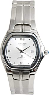 Casual Watch for Men by Accurate, Silver, Square, AMQ1087